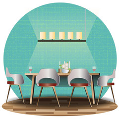 Dining room elevation set with background for interior,vector illustration