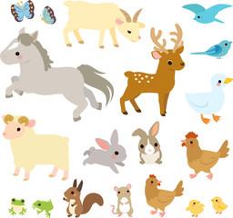 森や草原の動物たちのイラストセット
