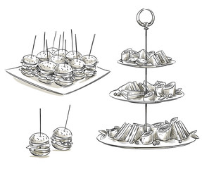 Set of snacks on a tray. Vector sketch.