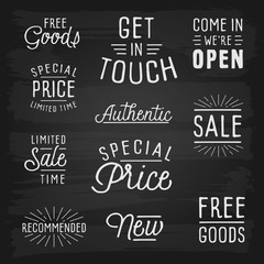 Hand drawn lettering slogans for retail