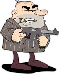 Cartoon of a Mobster with a machine gun