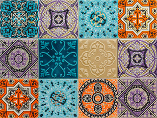 Fotorolgordijn Marokkaanse Tegels colorful ornament ceramic tiles patterns