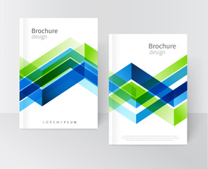 Brochure, leaflet, flyer, cover template. Abstract background blue and green diagonal lines. stock-vector EPS 10