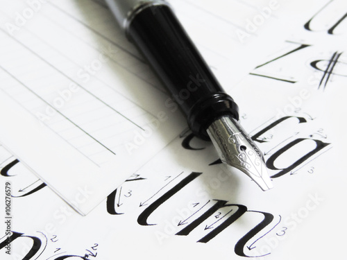 Quot fountain pen lined paper and instruction for calligraphy