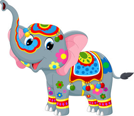 Vector illustration of decoration elephant in Indian