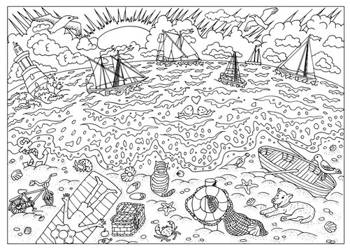 Hand drawn illustration of beach after storm. Coloring book page