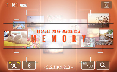 camera viewfinder,  photos of memory