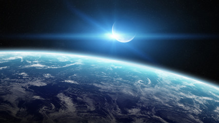 View of the moon close to planet Earth in space