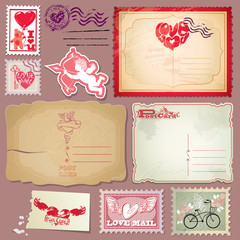 Set of vintage postcards and post stamps for Valentines Day desi