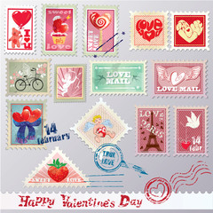 Set of vintage post stamps with hearts for Valentines Day design
