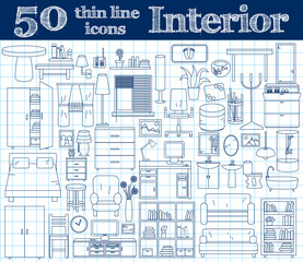 50 icons for Interior. Thin line set in blue colors on notebook.