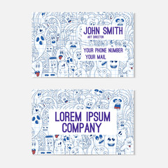 Business card template whit funny doodle monsters. Corporate identity.