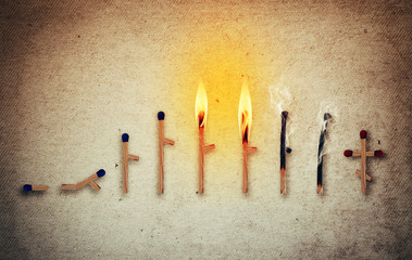 Matches symbolizing human life cycle in different ages from birth to death. Stages of development and time passing concept