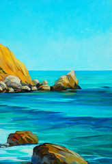 beach on the mediterranean sea, painting, illustration