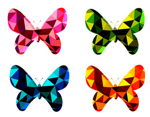 Four polygon style butterflies in red, green, blue and orange color