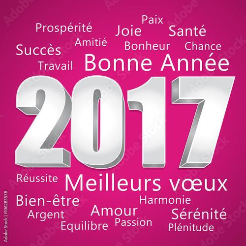 2017 bonne ann e carte de v ux rose et argent meilleurs v ux fichier vectoriel libre de - Carte voeux gratuite 2017 ...