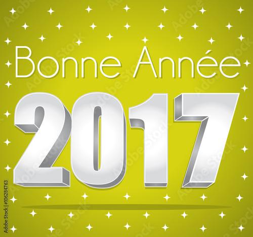 2017 bonne ann e carte de v ux toil e verte et argent texte en fran ais fichier vectoriel - Texte carte de voeux 2017 ...