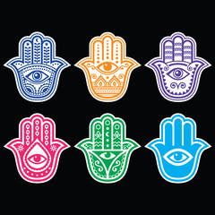 Hamsa hand, Hand of Fatima - amulet, symbol of protection from devil eye on black
