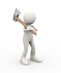 3d person carrying axe