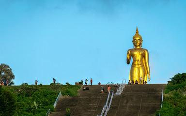 A golden buddha figure