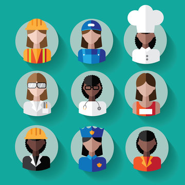 Multicultural female professions icon set.