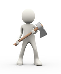 3d person holding axe