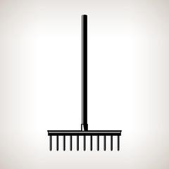 Rake, a Bow Rake for Soil and Rocks , Silhouette Garden Rake on a Light  Background, Agricultural Tool , Garden Equipment, Black and White Vector Illustration