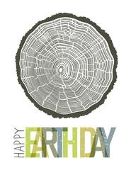 Happy Earth Day Design Concept. Tree rings symbolic illustration