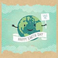 """Cartoon Earth Illustration. Planet smile and hold banner with """"S"""