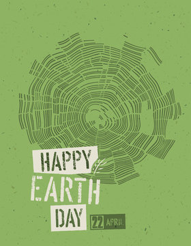 Happy Earth Day Poster. Tree rings symbolic illustration on the