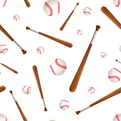 Baseball bats and balls on white, seamless pattern
