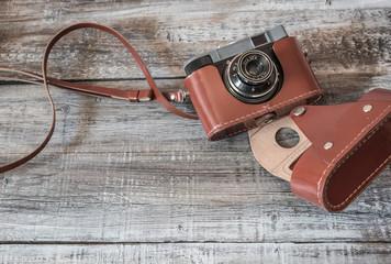 Vintage  old camera on wood background