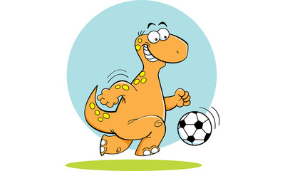 Cartoon illustration of a dinosaur playing soccer.