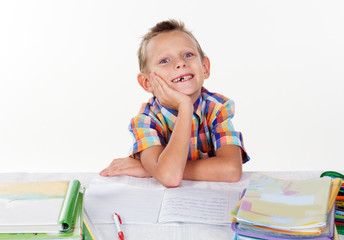 Funny school boy smiling without milk tooth