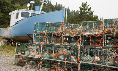 old boat and lobster traps