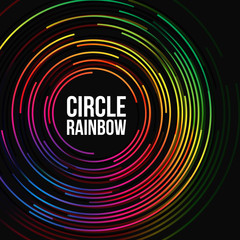 Abstract background template with circle rainbow colors