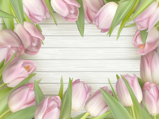 Color tulips on wooden background. EPS 10