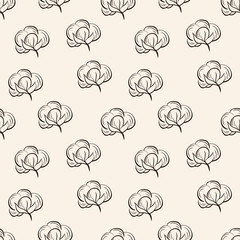 Seamless vector pattern with cotton.