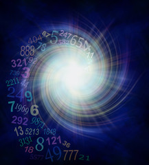 Numerology Energy Vortex - random transparent spiraling numbers swirling outwards from the center of a white star burst on a dark blue and black background  with plenty of copy space