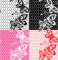 Set of Lace seamless patterns with butterflies - fabric design