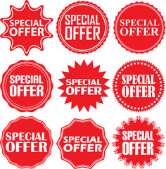 Special offer signs set, special offer sticker set, vector illus