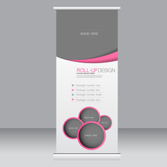 Roll up banner stand template. Abstract background for design,  business, education, advertisement. Pink color. Vector  illustration.