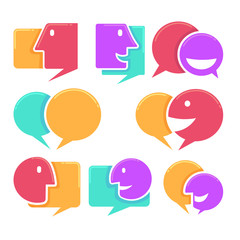 vector collection of talking, speaking and communication icons,