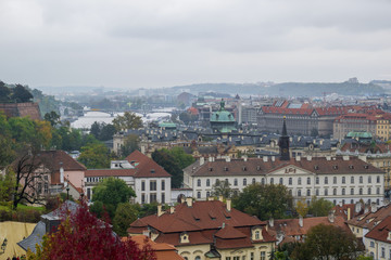 Panorama of Prague. Cityscape of old city with river Vltava