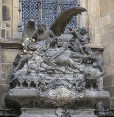 Sculpture of St. John of Nepomuk Cenotaph at Cathedral of Saints Vitus in Prague