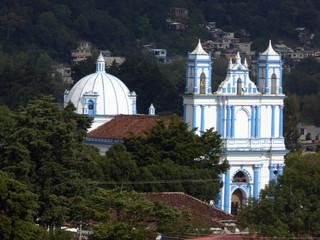 Colonial Blue Church in San Cristobal de las Casas