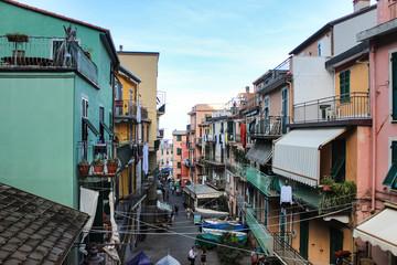Riomaggiore in Cinque Terre, Liguria, Italy in the summer