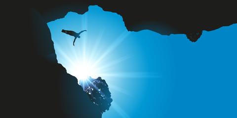 Plongeon de haut vol - falaise