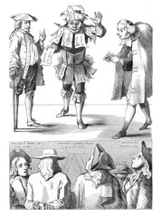 Caricature of the seventeenth century, vintage engraving.