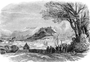 View of Salzburg, Austria, vintage engraving.
